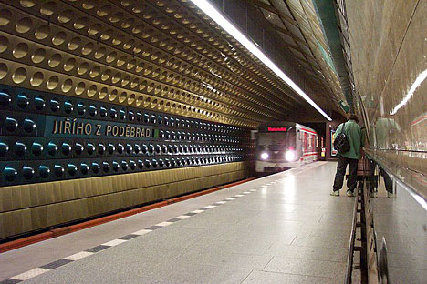 Stock image of Prague metro train